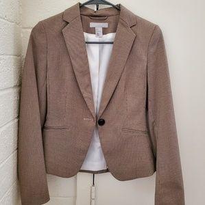 H&M Black and Brown Plaid Blazer